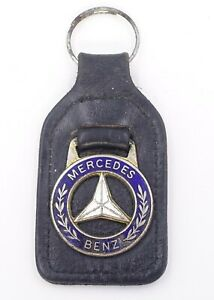 Vintage Mercedes Benz Key Chain Fob Ring Holder Medallion Leather MB Logo