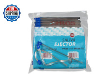 """100 PC Saliva Ejector Clear Blue Tip Bendable Dental Disposable Ehros 6"""""""
