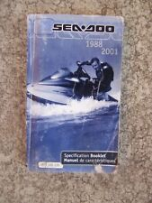 1988 - 2001 Sea Doo Personal Watercraft Specification Booklet Water Sports S