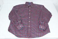 Men's Nautica Vintage Red Blue Plaid M Medium Long Sleeve Button Front Shirt
