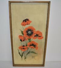 """1977 Original Mid Century Floral Oil Painting Signed G. Ernst 37 3/4""""x19 1/2"""""""