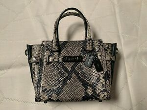 Coach Swagger 21 Snakeskin / Python Satchel Crossbody...Natural Black...Rare!