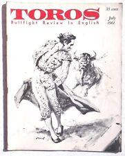Vintage July 1961 Toros (Matador) Bullfighting Review In English Magazine
