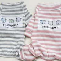 US Small Pet Dog Stripes Jumpsuit Pajamas Puppy Cat T Shirt Coat Clothes Apparel