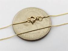 """14K 16"""" Solid Yellow Gold Thin Dainty Classic BOX Necklace Chain .5mm 14K Gold"""