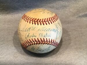 Rare 1970 Kansas City Royals Team Signed Baseball with Ted Williams (sweet spot)