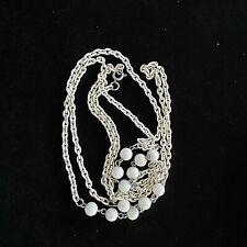 """and White Beads 48"""" Spring Ring Vintage Necklace White Enameled Metal Chain"""