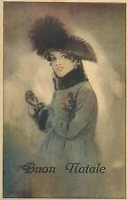 Italy Buon Natale Greetings Fancy Glamour Lady Feather Hat Fashion Fantasy 1923