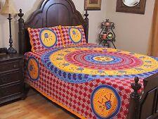 Jaipur Bedding - Red Orange Mandala Elephant Gajaraj Dot Print Cotton Set Queen