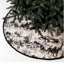 """Black French Country Toile De Jouy Christmas Tree Skirt Threshold NWT 50"""""""