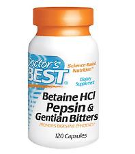 Doctor's Best Betaine HCl Pepsin und Gentian Bitters 120 Kaps VERSAND WELTWEIT