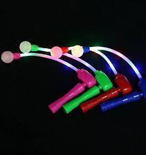 4 PACK Light Up Spinning Ratchet LED Ball Fiber Optic Matracas Wand Stick Flash