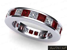 Genuine 4.40Ct Princess Ruby Diamond Classic Eternity Ring 18k Gold AAA H SI2