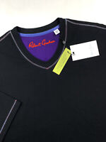 Robert Graham V Neck Short Sleeve T-Shirt Solid Black Classic Fit Mens Size 2XL