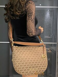 Michael Kors Bedford Medium Convertible Shoulder Crossbody Bag Beige Luggage
