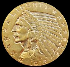 1915 GOLD UNITED STATES $5 INDIAN HEAD HALF EAGLE COIN PHILADELPHIA MINT