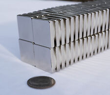 "25 SQUARE MAGNETS 1/2"" x 1/2 x 1/8"" STRONGEST N52 Rare E Neodymium"