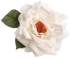 VELVET OPEN ROSE ARTIFICIAL FLOWER HAIR CLIP/PIN BROOCH