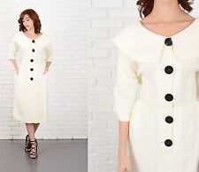 Vintage 50s 60s Cream Dress Mod peter pan puritan Collar Medium m