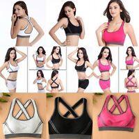 Sports Seamless Racerback Yoga Fitness Stretch Workout Top Tank Padded Bra Women