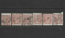 Stamps Australia 1.5d Brown KGV Heads w/ Commercial Perfs x 6 Good/Fine Used