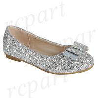New girl's kids slip on glitter bow flower girl dress shoes flat wedding Silver