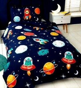 """Kids """"SPACE & TIME"""" Glow InThe Dark SINGLE Reversible Duvet Cover Bed Set"""