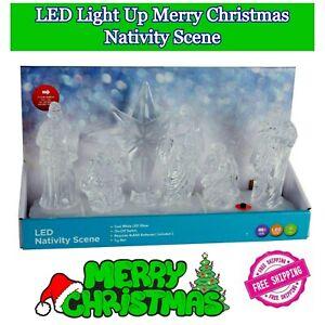 LED Lightup Merry Christmas Nativity Scene Xmas Home Decoration Battery Operated
