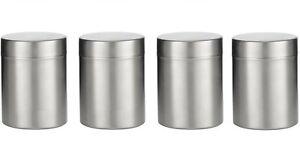 SET OF 4, Stainless Steel Tea Coffee Sugar Canisters Kitchen Storage Jars 700ml