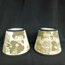 Wide Eyed Kids Custom Made Fabric Handcrafted Lamp Shade 6 x 10 x 8 Vintage Look