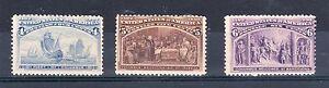 United States 1893 Columbian Exhibition 4c, 5c and 6c MH