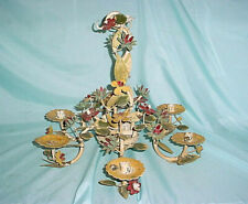 ANTIQUE TOLE CHANDELIER 6 ARM CEILING LIGHT FLOWERS CANDLE HOLDER Iron Wrought