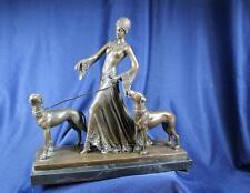 Figural Bronze G Gori Art Deco Lady W/ Dogs Statue W/2 Dogs The Guardians
