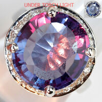 UNHEATED OVAL ALEXANDRITE COLOR CHANGE 14.55 ct. STERLING 925 SILVER RING SZ 6.5