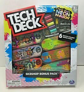 TECH DECK ELEMENT NEON INVASION SK8SHOP BONUS PACK 6 BOARDS NEW 2021 SG160
