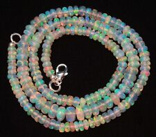 Super Flashing Fire Natural Ethiopian Opal Smooth Rondelle Beads Necklace 18""