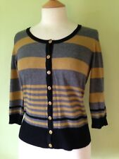 Wallis Fine Knit Mustard Grey Black Striped Cardigan S 8