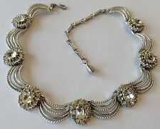 VINTAGE CORO SIGNED CLEAR RHINESTONE DRAPING NECKLACE