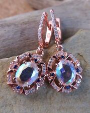 New Pink Mystic Topaz Earrings Sterling Silver 18k Rose Gold Plated #549