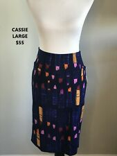 LuLaRoe Navy Blue LIPSTICK Printed Cassie Skirt **NWT**Size L**