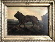 Huile s/ Panneau Portrait Lion Félin Art Animalier Peinture Signée Lienhart XIXè