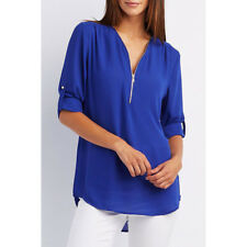 Women Chiffon Loose Tops Long Sleeve Sexy Zip V Neck T Shirt Casual Blouse Shirt