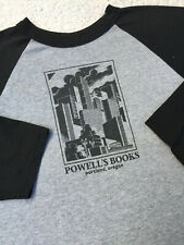 Portland Oregon POWELL'S BOOKS Vintage Raglan Shirt 3/4 Sleeves Heather / Blk
