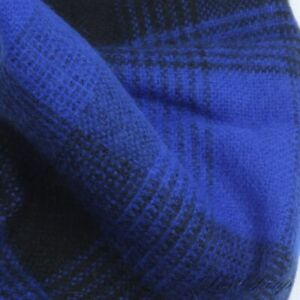 #1 MENSWEAR Anonymous Made in England 100% Cashmere Royal Sapphire Tartan Scarf