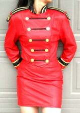 CACHE  RED LEATHER   MILITARY SUIT - DB JACKET and  SKIRT-  size 6