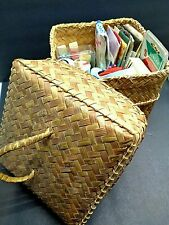 Vintage Button Sewing Notions Pin Cushion Wicker Sewing Basket Box