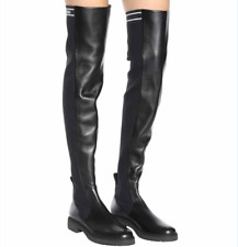 FENDI Rockoko BLACK LEATHER & STRETCH KNIT SOCK OVER THE KNEE BOOTS EU 40 US 10