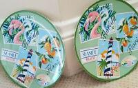 Vintage Plates Sanibel Florida Melamine Seaside Beach Nautical Lot of 2 Ex