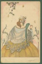 MELA KOEHLER. Giovane donna con pappagallo. Cartolina d'epoca viaggiata nel 1924