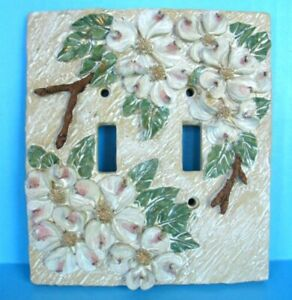 Dogwood Tree Flower Double Light Switch Plate Cover Blooming Handpainted Texture